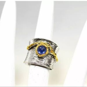 Jewelry - New! Sapphire & Thick Banded Sterling Silver Ring
